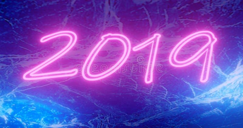 3d翻译 2019与五颜六色的霓虹灯和bokeh的新年概念 介绍的减速火箭的设计元素,飞行物,传单 向量例证