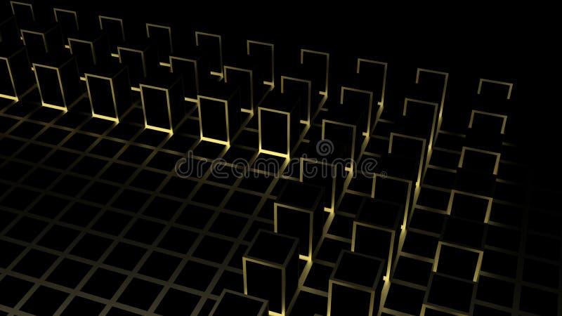 3d翻译 在暗色立方体的抽象金黄方形的形状块把背景装箱 皇族释放例证