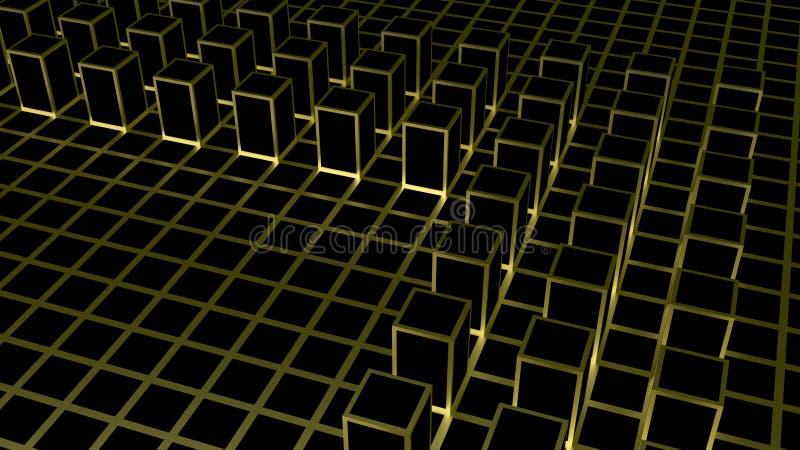 3d翻译 在暗色立方体的抽象金黄方形的形状块把背景装箱 库存例证