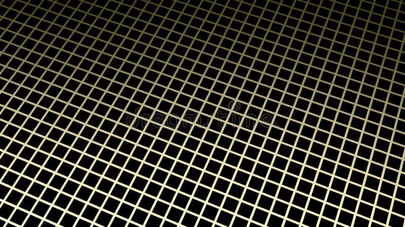 3d翻译 在暗色立方体的抽象金黄方形的形状块把背景装箱 向量例证