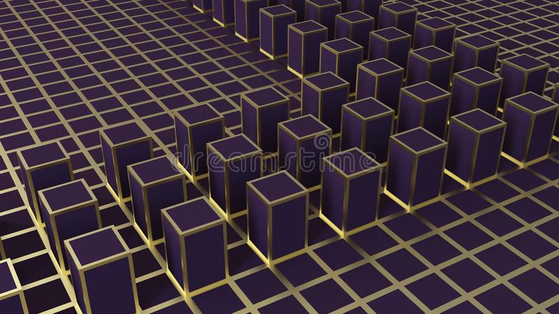 3d翻译 在暗色立方体的抽象金黄方形的形状块 皇族释放例证