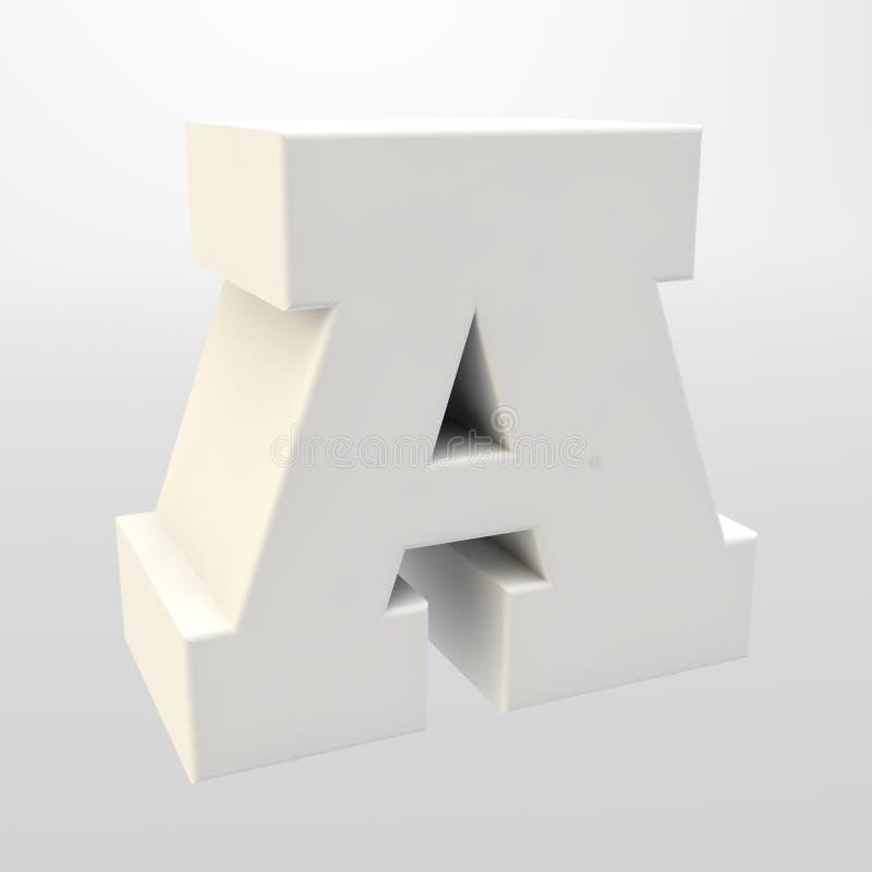 3d翻译 在轻的背景的白色信件 大写字母 库存例证