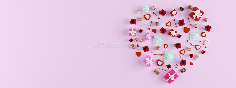3d翻译 心脏的形状与许多的礼物 红色上升了 免版税库存图片