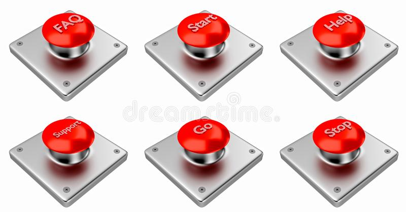 3d翻译 有开始的,中止,帮助,支持,常见问题解答红色网按钮,掉了 库存例证