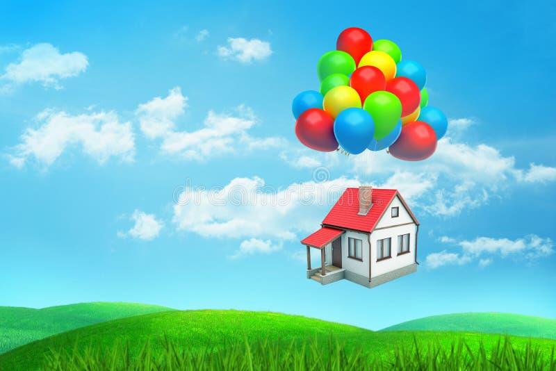 3d翻译a写红被顶房顶的房子飞行垂悬在许多色的气球在一个绿色领域 免版税库存照片