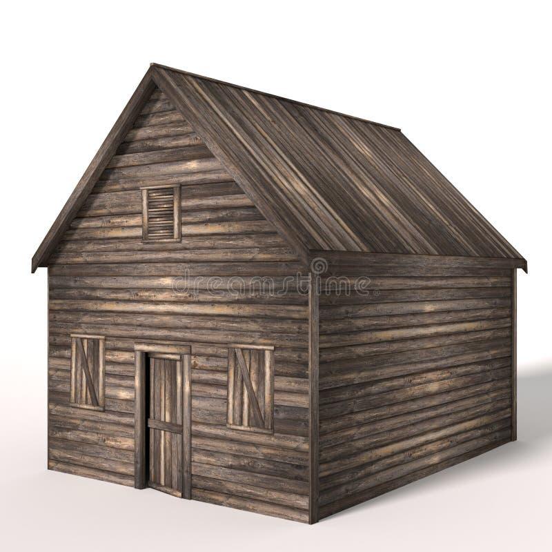 3d老木头棚子 皇族释放例证