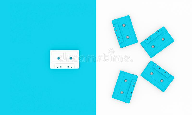 3d老白色和蓝色卡型盒式录音机的图象在供选择背景的 库存例证