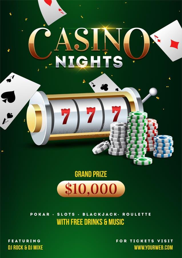 3D老虎机、赌博娱乐场芯片和纸牌的例证在发光的绿色背景 库存例证