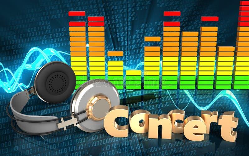 3d耳机音乐会标志 皇族释放例证