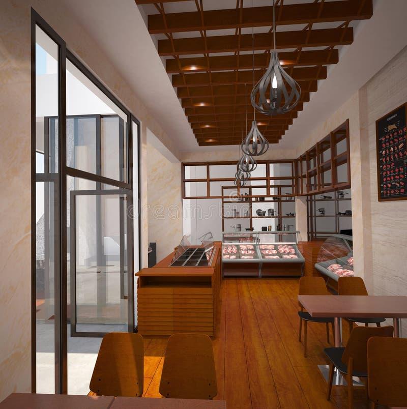 3D肉店室内设计的形象化 向量例证