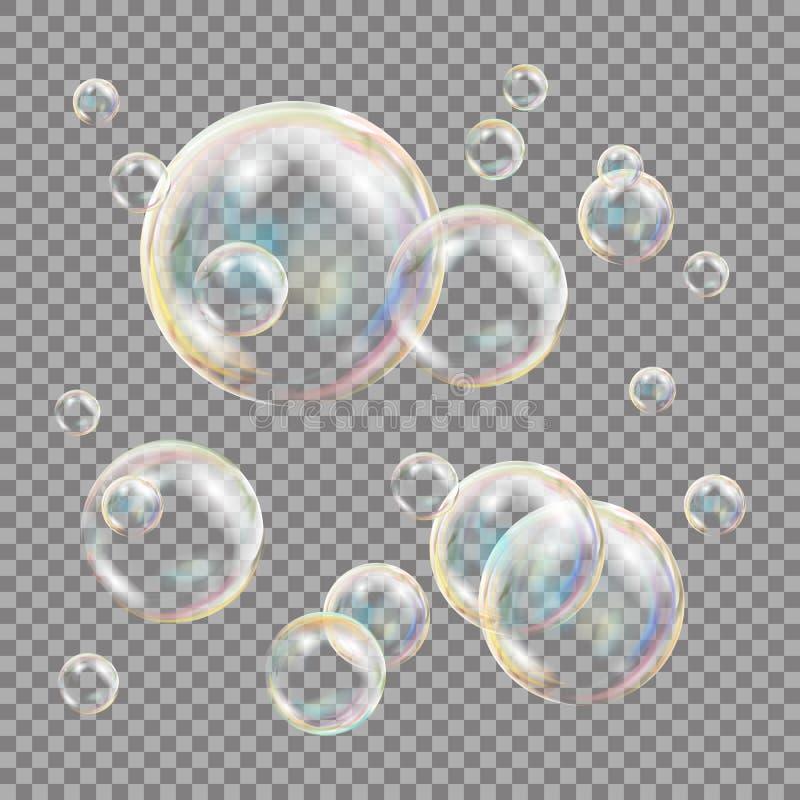 3D肥皂泡透明传染媒介 球形球 水和泡沫设计 按钮查出的现有量例证推进s启动妇女 皇族释放例证
