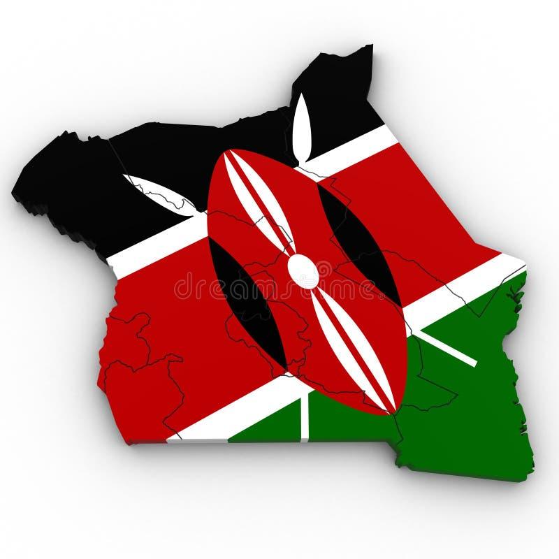 3d肯尼亚的政治地图 库存例证