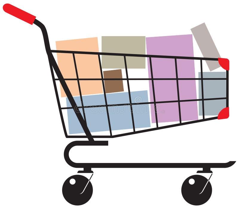 3d背景把购物车翻译购物白色装箱 向量例证