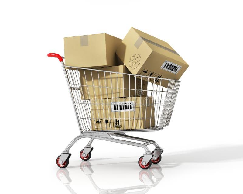 3d背景把购物车翻译购物白色装箱 皇族释放例证
