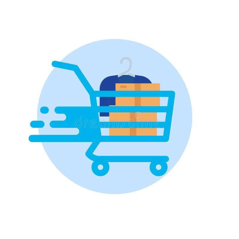3d背景购物车查出使购物空白 传染媒介平的象 库存例证