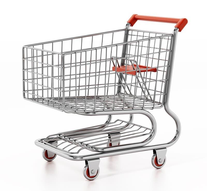 3d背景购物车查出使购物空白 3d例证 向量例证