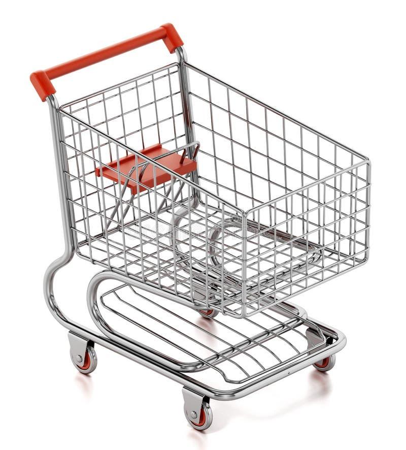 3d背景购物车查出使购物空白 3d例证 库存例证