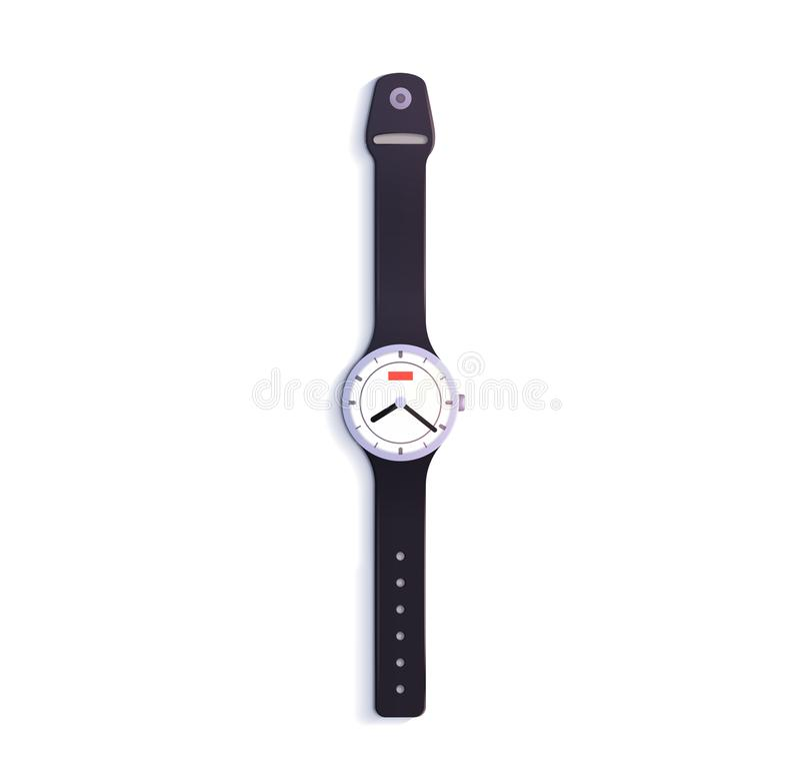 3d背景镜象查出的手表白色 向量例证