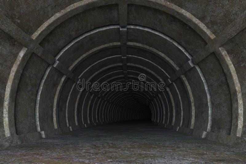 3d脏的具体隧道路的例证 向量例证