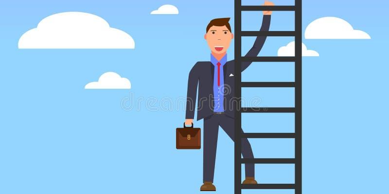 3d自己最高查出的梯子使解决方法空白 天空的商人 上升的商人上升在天空的梯子与云彩 成功的办公室人 图库摄影