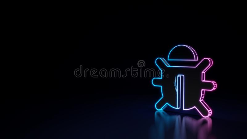 3d臭虫的标志的发光的霓虹标志在黑背景的 向量例证
