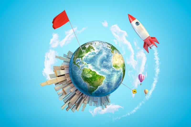 3d色的地球地球翻译与城市大厦、气球、红旗和太空火箭的在天空蔚蓝背景 免版税图库摄影
