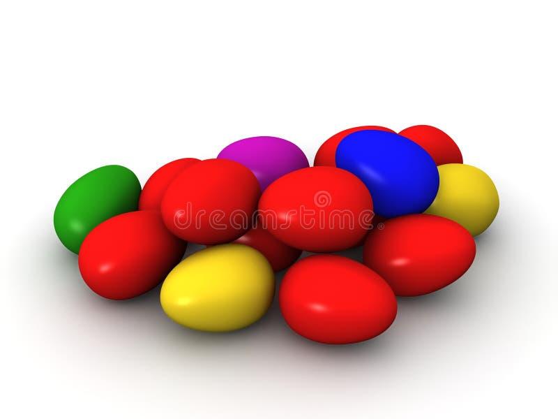 3D复活节彩蛋倍数颜色 皇族释放例证