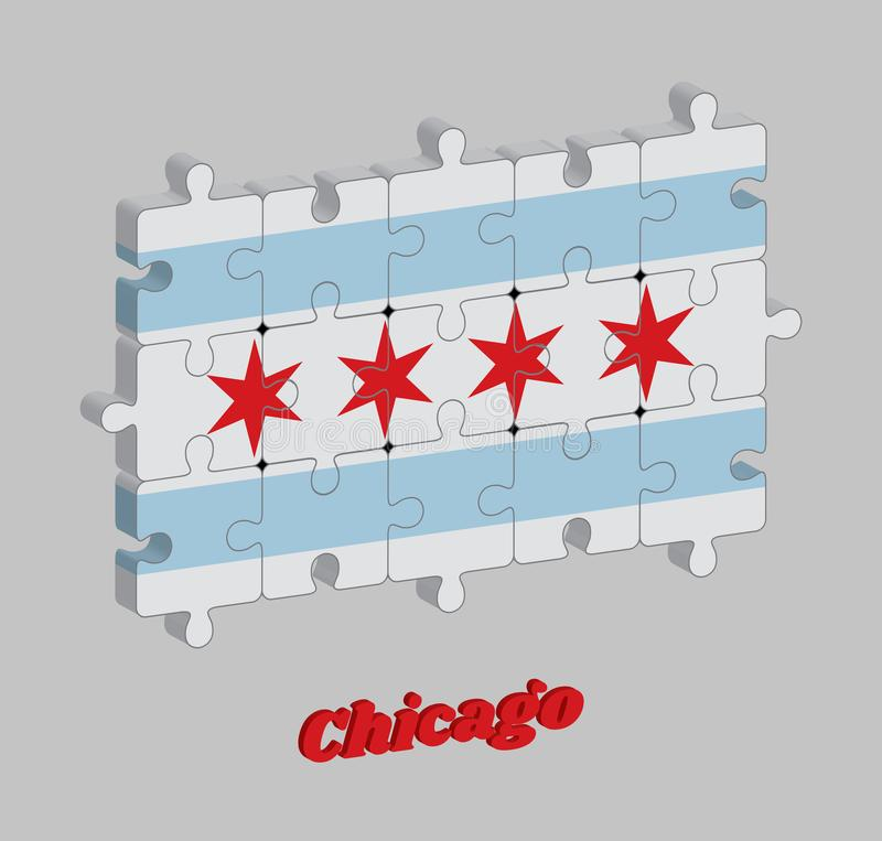 3D芝加哥旗子拼图芝加哥是最人口众多的城市在伊利诺伊,美国 库存例证