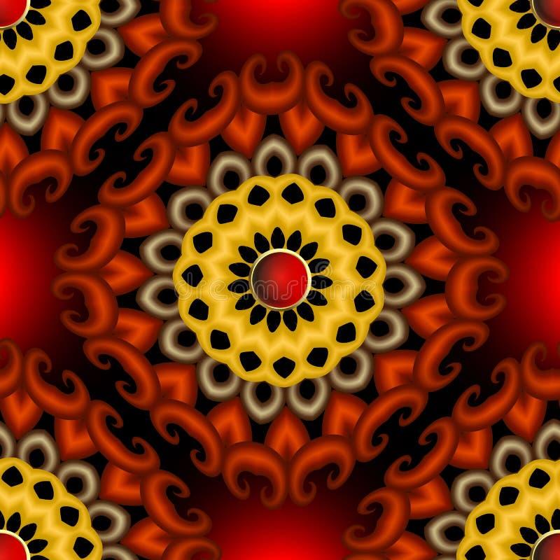 3d花卉传染媒介无缝的样式 现代装饰发光的背景 摘要表面织地不很细花, 皇族释放例证