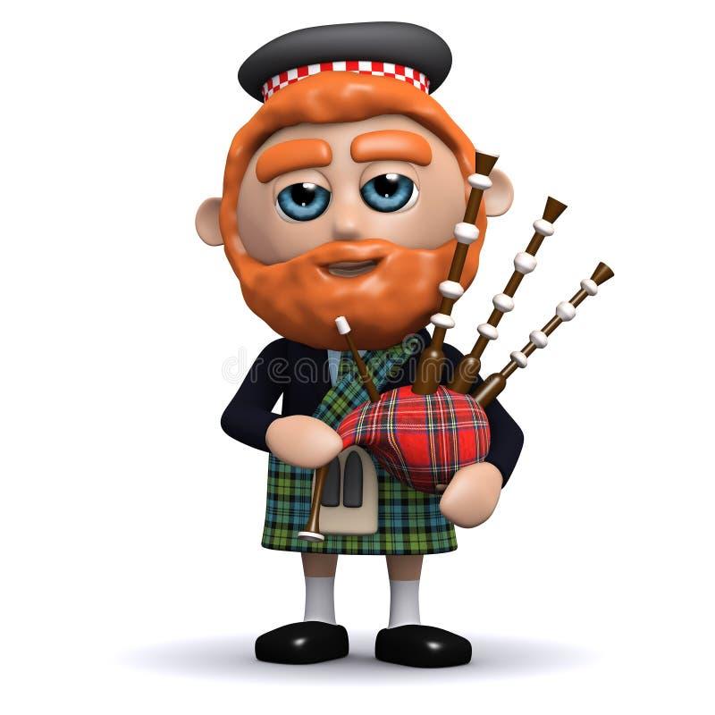 3d苏格兰男子弹风笛 库存例证