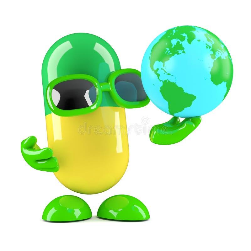 3d药片看地球的地球 向量例证