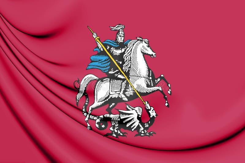 3D莫斯科,俄罗斯旗子  皇族释放例证