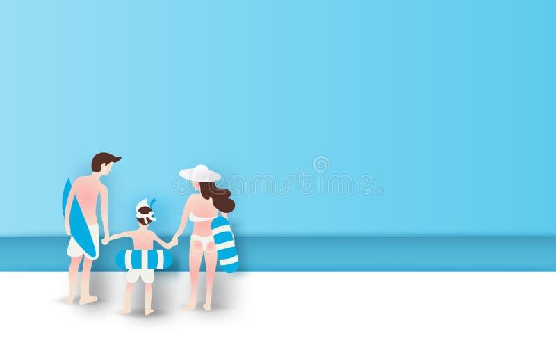3D获得背面图年轻的家庭的例证在海滩的愉快的乐趣 潜水在橡胶环的人们 现代五颜六色的柔和的淡色彩 向量例证