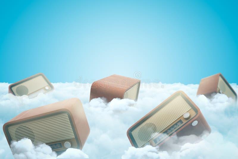 3d葡萄酒收音机翻译在白色云彩的在蓝色背景 向量例证