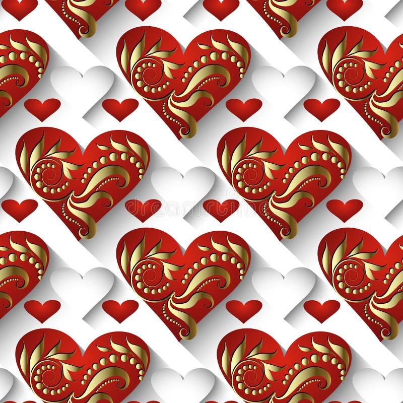 3d葡萄酒爱心脏传染媒介无缝的样式 装饰elega 向量例证