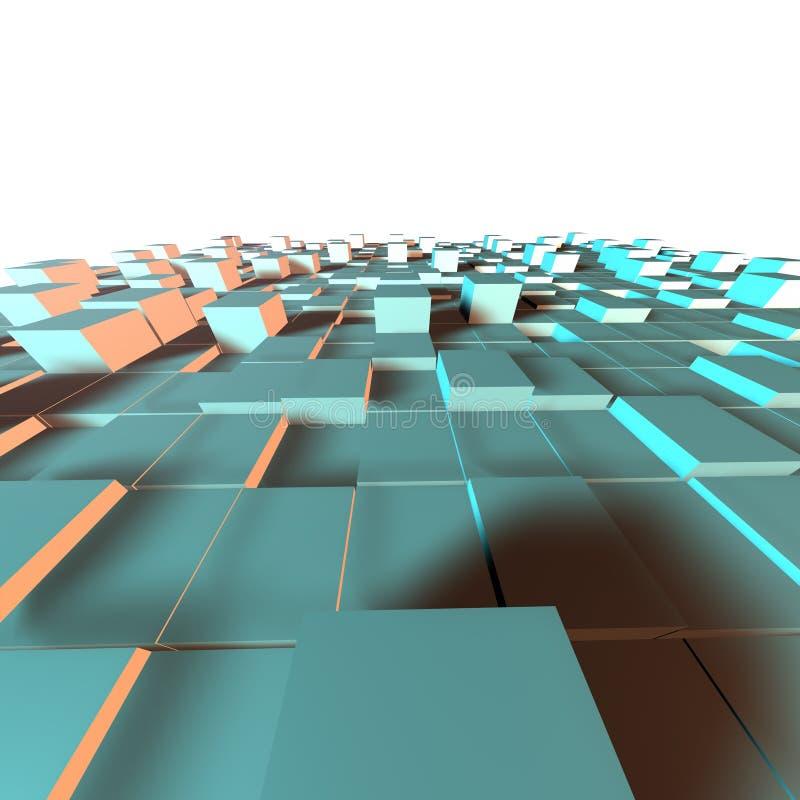 3d蓝色和灰色未来派立方体表面的例证 向量例证