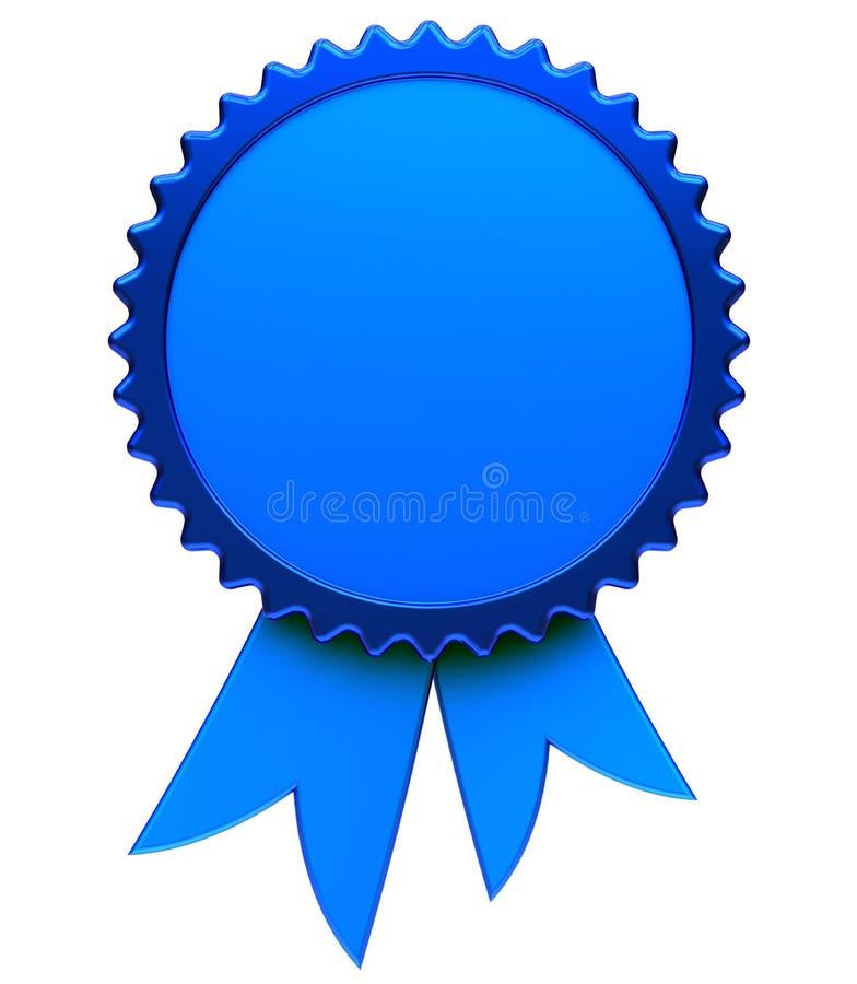 3d蓝色奖丝带空白奖励奖牌玫瑰华饰的例证 皇族释放例证