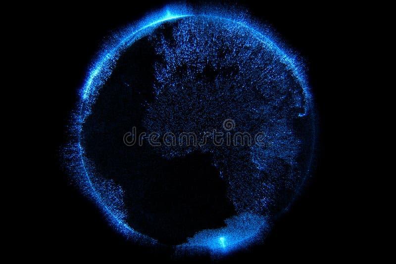 3d蓝色微粒的例证闪耀与详细的真正行星地球世界地球形状的闪烁在黑背景的, 皇族释放例证