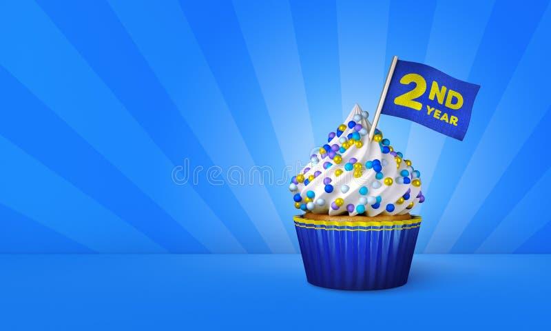 3D蓝色杯形蛋糕,在杯形蛋糕附近的黄色条纹翻译  向量例证