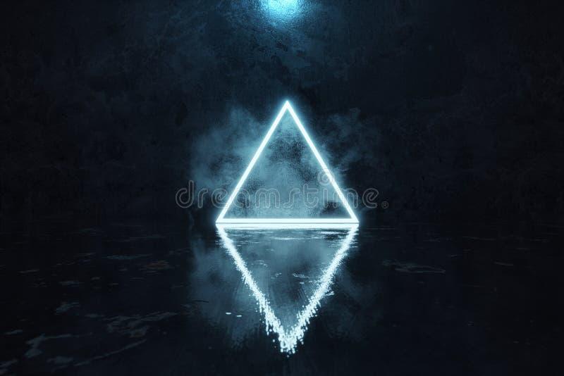3d蓝色翻译照亮与亮点的三角形状在难看的东西与湿光滑的地板的墙壁背景前面 皇族释放例证