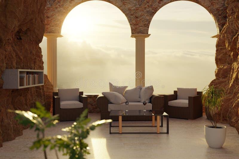 3d藤条家具翻译在峭壁露台的有曲拱窗口和枕头的在平衡的阳光下 向量例证