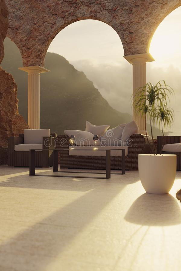3d藤条家具翻译在峭壁露台的有曲拱窗口和枕头的在平衡的阳光下 皇族释放例证
