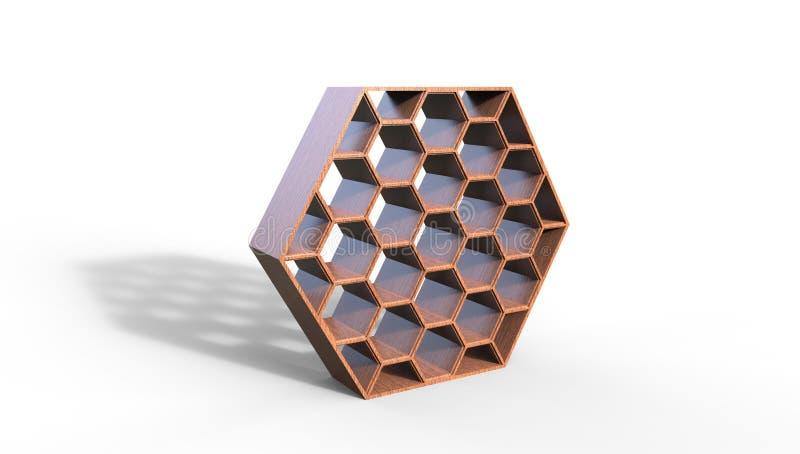 3d蜂箱形状的书橱的例证 向量例证