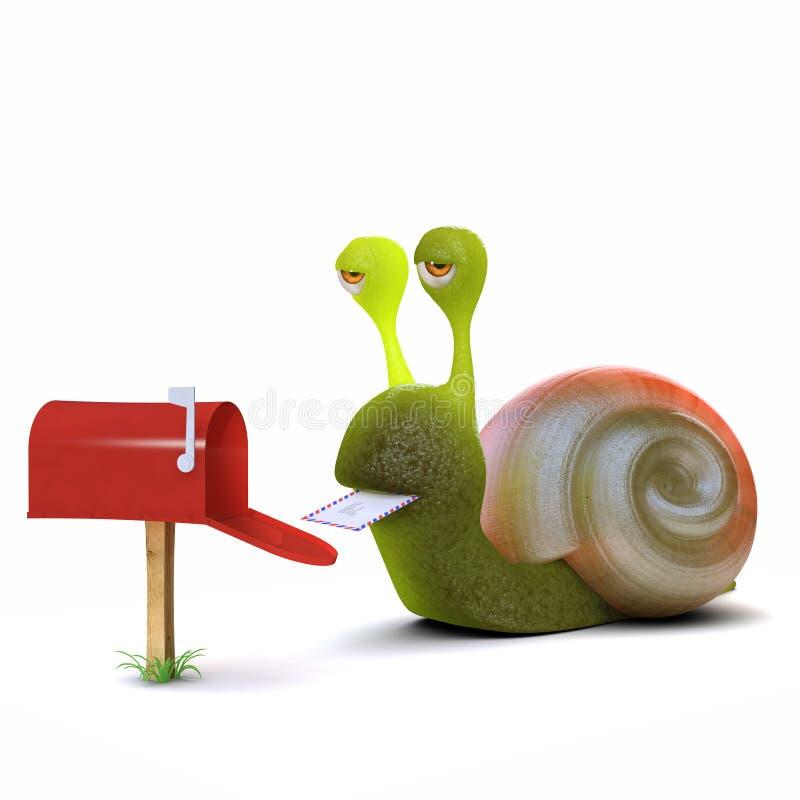 3d蜗牛得到邮件 向量例证