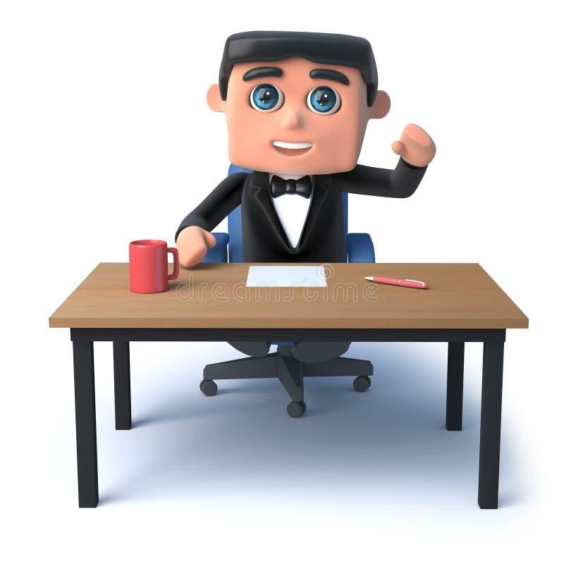 3d蝶形领结人坐在他的书桌 库存例证