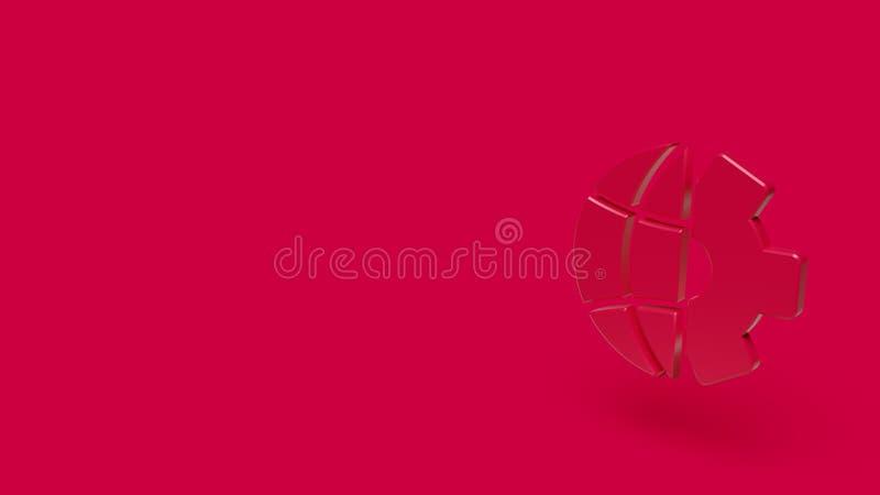 3D行星象有红色背景 库存照片