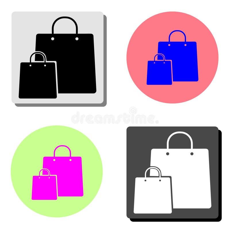 3d袋子美好的尺寸形象例证购物的三非常 平的传染媒介象 向量例证
