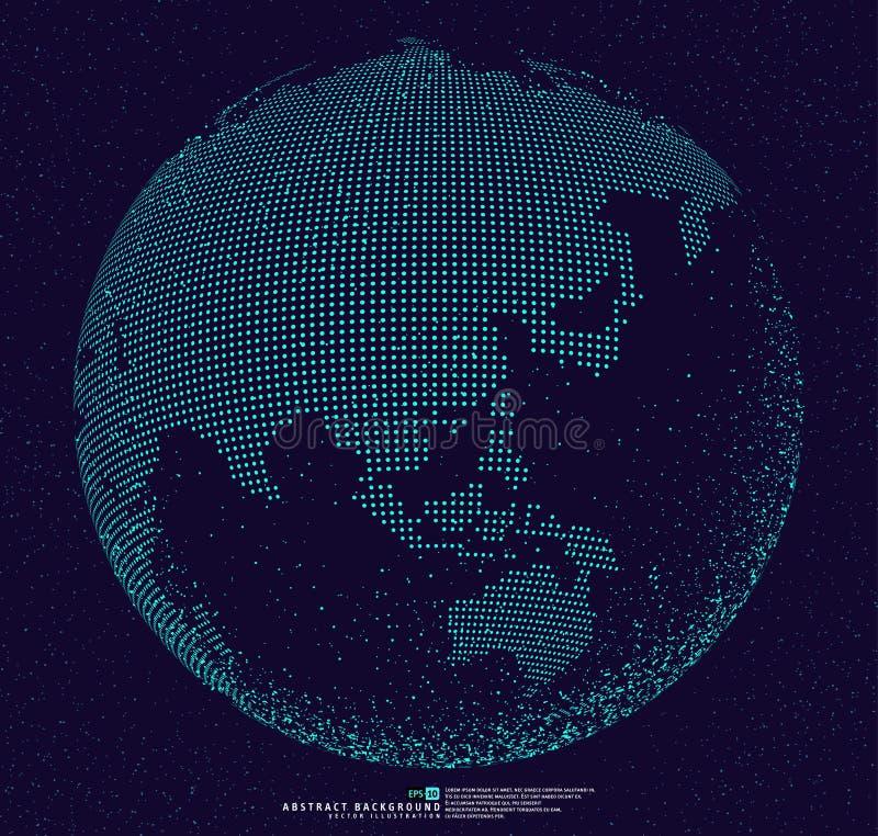 3D被加点的地球摘要背景 库存例证