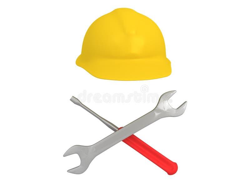 3D被安排的板钳、螺丝刀和安全帽的例证  皇族释放例证