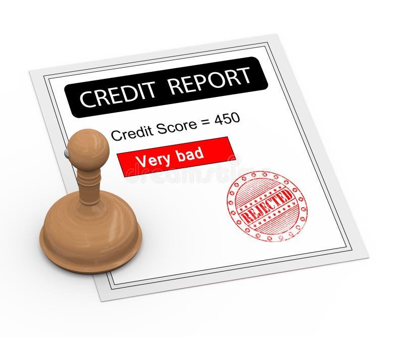 3d坏信用评分报告 向量例证
